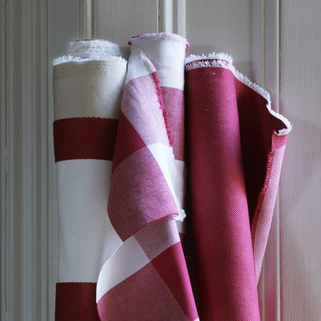 Clarke and Clarke -  Sonoma Fabric Collection - Bolts of fabric; plain red, large red and white checks, and red and white stripes