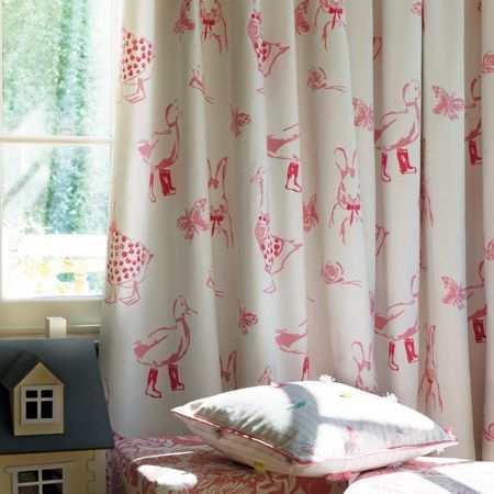 Clarke and Clarke -  Storybook Fabric Collection - Pink and white duck and goose print curtains with patterned footstools, a white dotted cushion and a dolls
