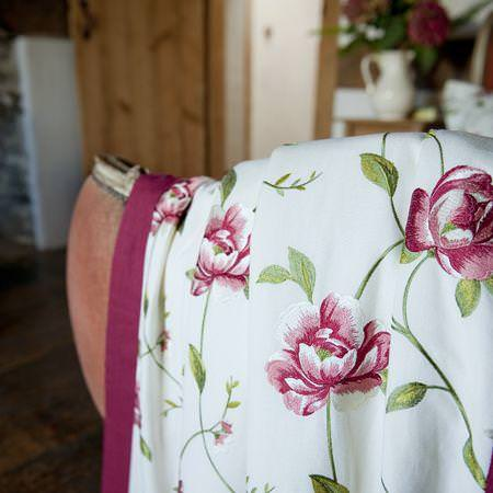 Clarke and Clarke -  Tatton Linens Fabric Collection - White linen bedspread with detailed flower stitching from Tatton linens fabric collection