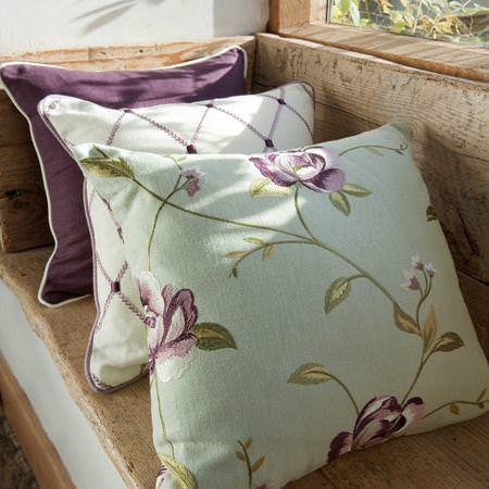 Clarke and Clarke -  Tatton Linens Fabric Collection - Purple, white and green linen cushions with diamond grid or purple flowers