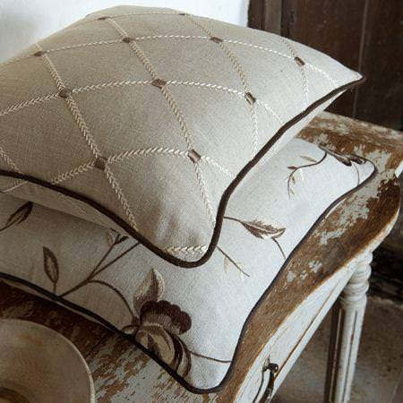 Clarke and Clarke -  Tatton Linens Fabric Collection - Antique style linen cushions with stitched flower and grid design