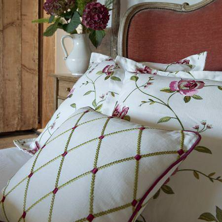 Clarke and Clarke -  Tatton Linens Fabric Collection - Rustic style white linen cushions with purple and green flower and grid decoration