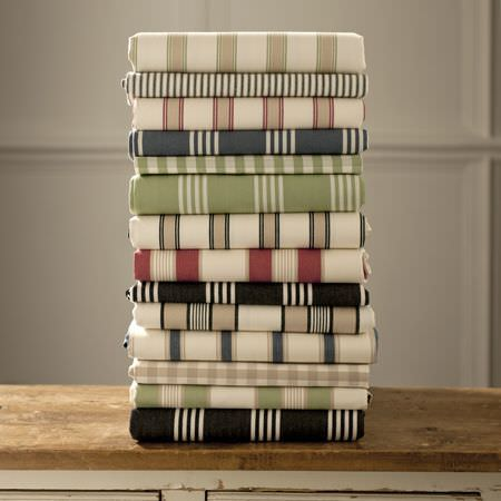Clarke and Clarke -  Ticking Stripes Fabric Collection - Various colourful striped fabrics from Ticking stripes fabric collection