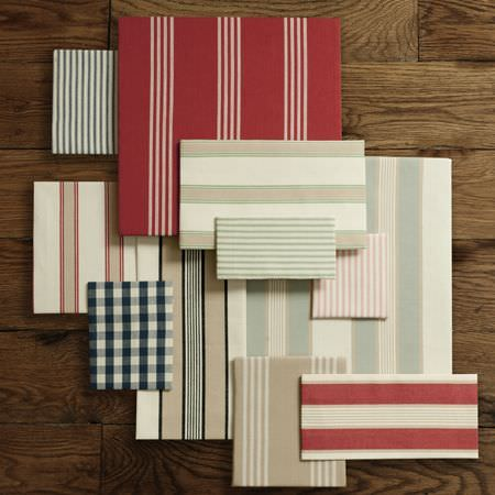 Clarke and Clarke -  Ticking Stripes Fabric Collection - Colourful and striped napkins, fabric and cotton dining pads