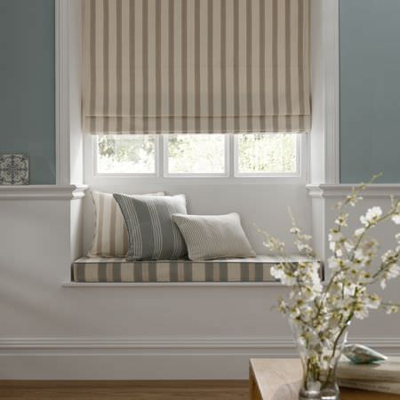 Clarke and Clarke -  Ticking Stripes Fabric Collection - Grey and sandy striped cushions, curtain and a bench seatin pad
