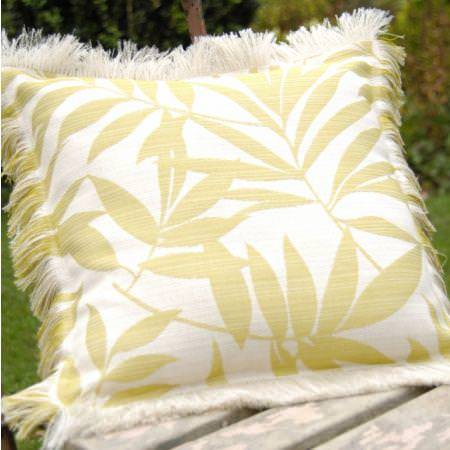 Clarke and Clarke -  Tropicana Fabric Collection - White cushion with yellow tropical leaves