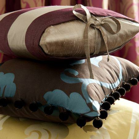 Clarke and Clarke -  Venetian Silks Fabric Collection - Silk cushions in gold and red or brown and blue classic designs