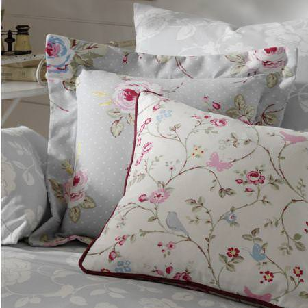 Clarke and Clarke -  Vintage Classics Fabric Collection - White and light grey cushions with pink and green detailed flower impressions and dots