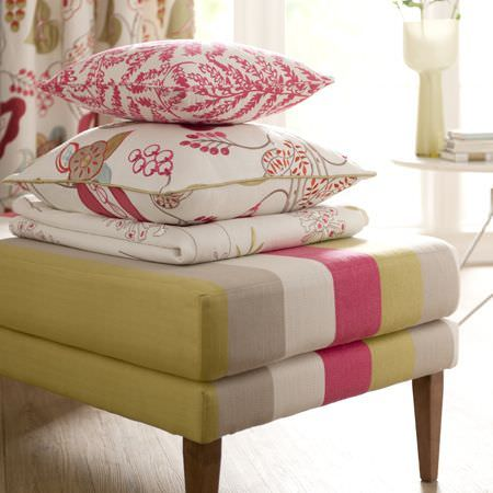Clarke and Clarke -  Wild Garden Fabric Collection - Curtains, cushions, a quilt and upholstery with a floral pattern made from linen using colours of yellow, white, grey and gold