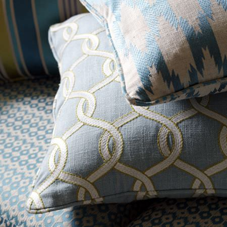 Clarke and Clarke -  Zanzibar Fabric Collection - Cushions made with three different patterned designs in light shades of cream and sky blue