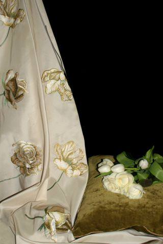 Design Forum -  Albany Fabric Collection - Gold Albany fabric with gold stitched roses