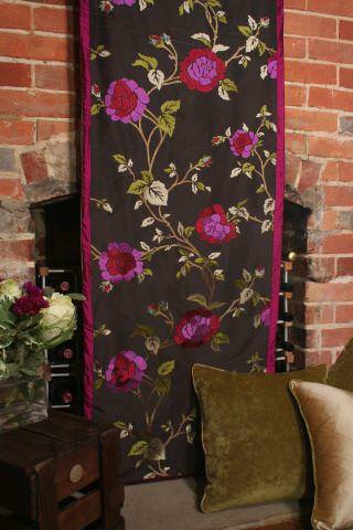 Design Forum -  Albany Fabric Collection - Black fabric/curtain with pink flowers and green leaves in a country house setting