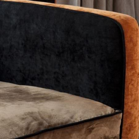 Design Forum -  Cognac Fabric Collection - Sofa with a beige seat cushion with black piping, and a black and burnt orange armrest