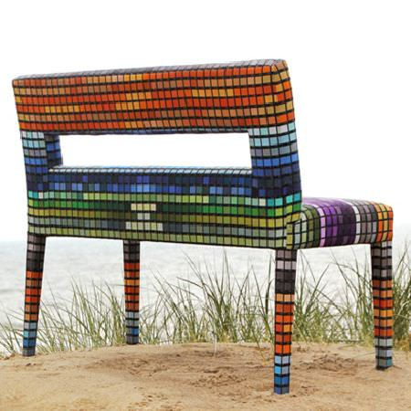 Design Forum -  Kaleidoscope Fabric Collection - Multicoloured mosaic style bench with rectangular hole cut out in the back