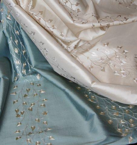Design Forum -  Opium Silks Fabric Collection - Champagne and blue silk fabrics with leaves and vine pattern