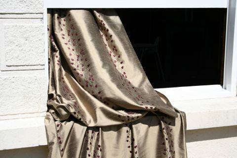 Design Forum -  Opium Silks Fabric Collection - Gold silk curtain with burgundy red leaves and vines stitches