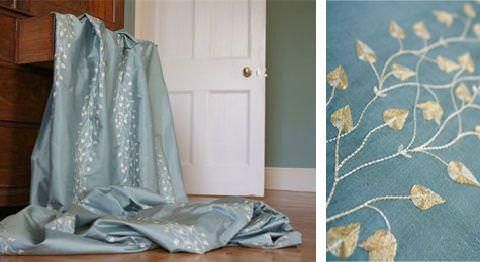 Design Forum -  Opium Silks Fabric Collection - Light blue silk fabric with gold leaves and vines bands from Opium silks