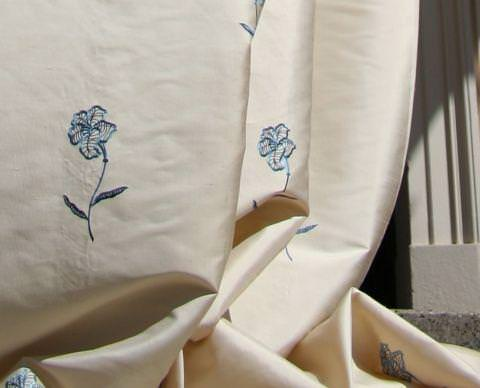Design Forum -  Opium Silks Fabric Collection - White silk fabric with small stitched blue flowers