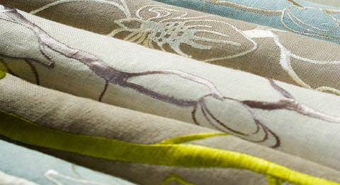 Design Forum -  Persian Linen Fabric Collection - Various linen fabrics with modern decorative motifs and floral designs