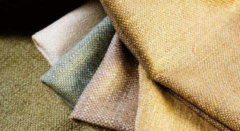 Design Forum -  Persian Linen Fabric Collection - Plain linen fabrics in teal, white, green, yellow, and purple