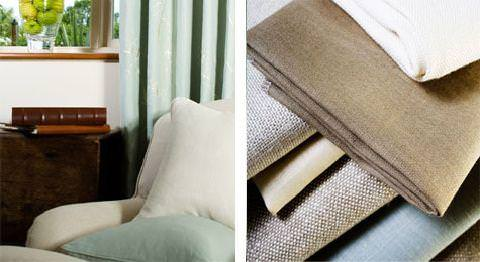 Design Forum -  Persian Linen Fabric Collection - White linen upholstery and linen cushions; Plain linen fabrics in white, brown, blue, and sandy colour