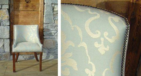 Design Forum -  Persian Linen Fabric Collection - Persian linen upholstered vintage armchair with a classic lily symbol pattern