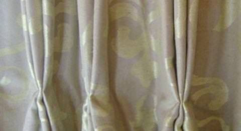 Design Forum -  Persian Linen Fabric Collection - Sandy linen curtains with a classic lily symbol pattern in white and a triple pinch