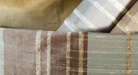 Design Forum -  Persian Silks Fabric Collection - Collection of silk grey, red and gold silk fabrics with gold stripes