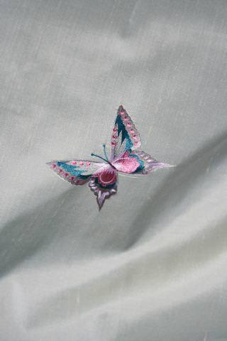Design Forum -  Persian Silks Fabric Collection - Fine light grey silk fabric with finely stitched pink and blue butterfly