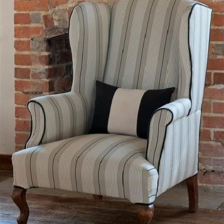 Design Forum -  Rimini Fabric Collection - Traditional armchair in grey, white and black stripes, with black piping and wooden legs, and with a monochrome striped rectangular cushion