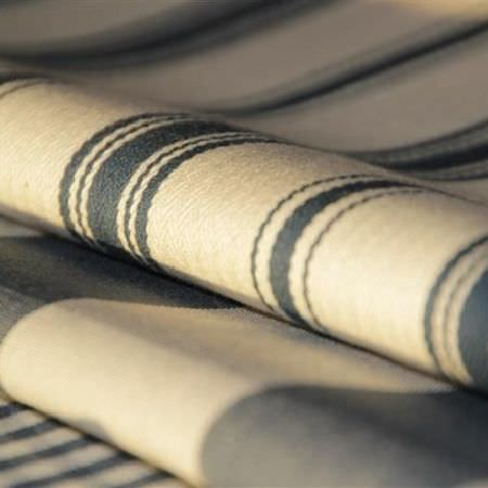 Design Forum -  Rimini Fabric Collection - Folds of fabric in cream and grey-green stripes