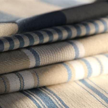 Design Forum -  Rimini Fabric Collection - Five different fabrics with beige, blue and off-white stripes in varying widths
