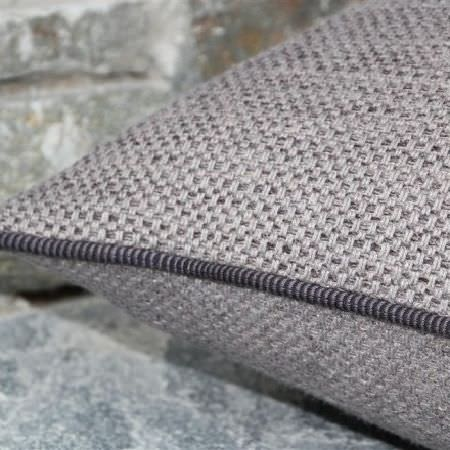 Design Forum -  Swiss Linen Fabric Collection - Woven grey cushion with striped woollen piping