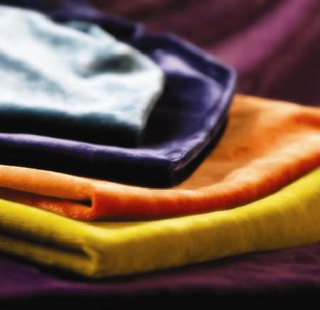 Design Forum -  Syvota Fabric Collection - Blue, purple, orange and yellow coloured velour fabrics