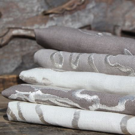 Design Forum -  Tuscany Fabric Collection - White and stone coloured fabrics with white embroidery