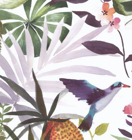 Edinburgh Weavers -  Exotica Fabric Collection - Fabric dyed in white decorated with watercolour pattern of tropical plants, birds and flowers