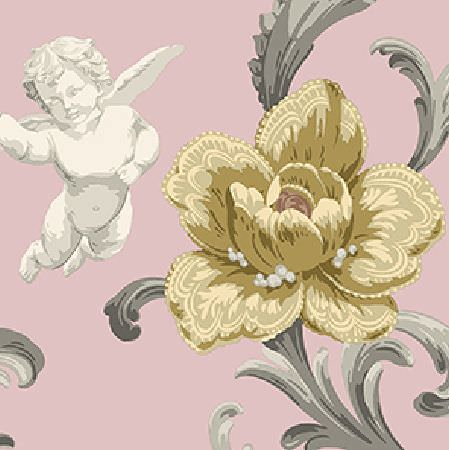 Edinburgh Weavers -  Fantasia Fabric Collection - Off-white cherubs and detailed light yellow flowers printed with grey leaves on a pale pink fabric background