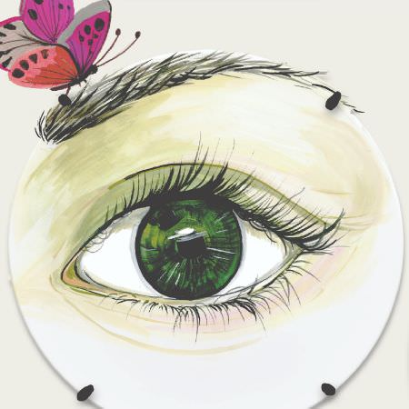 Edinburgh Weavers -  Weird And Wonderful Fabric Collection - Fabric printed with a circular design surrounding a realistic green eye and eyebrow with a bright red and pink butterfly