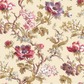 Elanbach -  Anenome Fabric Collection - Vintage style ivory floral fabric, with white, pink and purple roses, green leaves and brown branches
