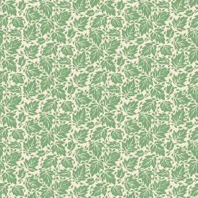 Elanbach -  Bagheere Fabric Collection - Cream fabric with small green leaf design repeated all over