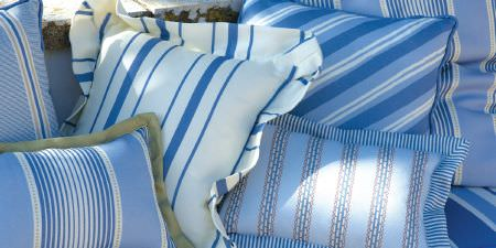 Elanbach -  Fair and Square Fabric Collection - Square and rectangular scatter cushions, some with frilly edges, each in a different striped pattern in white, light blue and cobalt blue