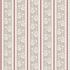 Elanbach -  Floral Stripes Fabric Collection - Striped red, white and beige fabric, featuring rows of a simple white floral pattern within the beige stripes