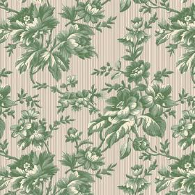 Elanbach -  Grand Italian Classics Fabric Collection - Large green and cream flowers on a beige and cream striped fabric
