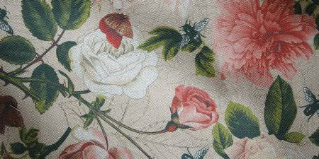Elanbach -  Grand Tour Fabric Collection - Off-white fabric with a pink and white rose, green stem and leaf, and insect and butterfly design