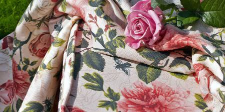 Elanbach -  Grand Tour Fabric Collection - Rose print fabric in shades of pink, cream and green
