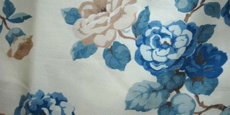 Elanbach -  In The Country Fabric Collection - White fabric featuring blue and cream flowers, brown branches and blue leaves
