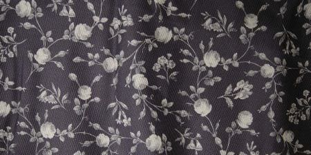 Elanbach -  In The Country Fabric Collection - Deep purple-grey fabric with a tiny light grey rose pattern