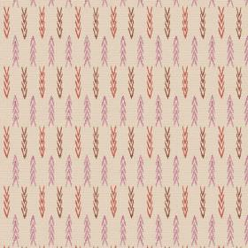 Elanbach -  Indienne Fabric Collection - Cream fabric woven with tiny rows of pink, terracotta and brown chevrons