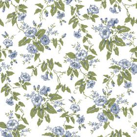 Elanbach -  Morning Glory Fabric Collection - Delicate blue rose patterned fabric with a crisp white background and green leaves
