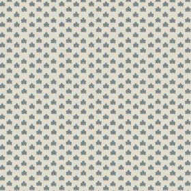 Elanbach -  Pasha Fabric Collection - Series of identical small blue-grey symbols on white fabric
